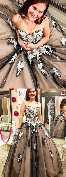 Sweet Heart A-Line Tulle Backless Cheap Applique Prom Dresses, FC306