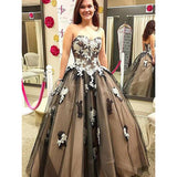 Sweetheart Neckline A-Line Tulle Backless Applique Prom Dress, FC306