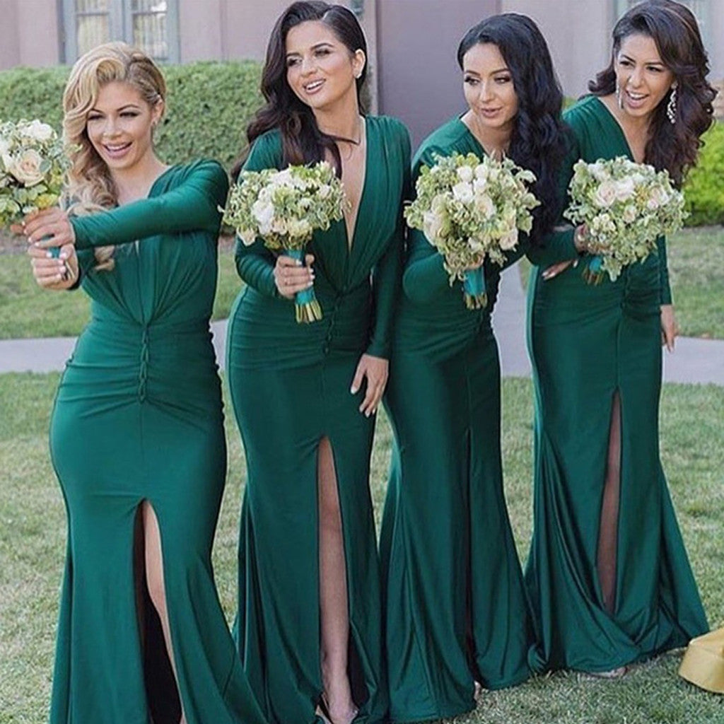 Unique Long Sleeves Sexy V Neck Mermaid Teal Green Cheap Long Bridesmaid Dresses, WG308