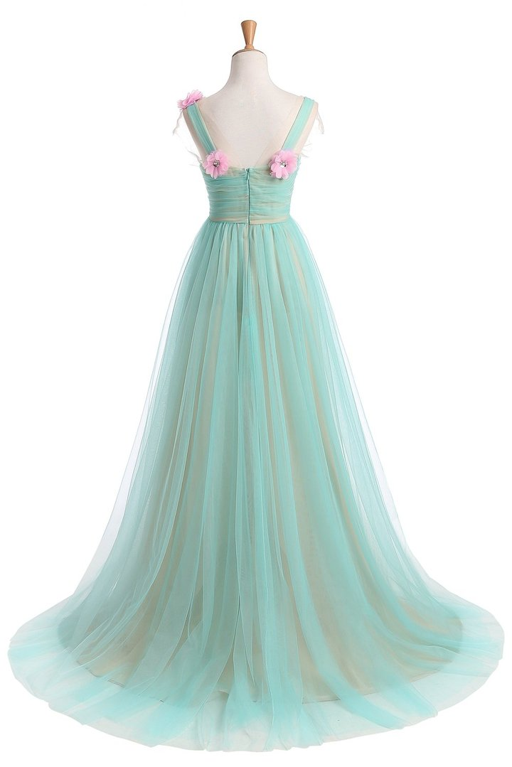 Long Tulle Sleeveless Prom Dress, Applique Simple A-Line Prom Dress, LB0321