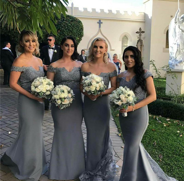 Popular Off Shoulder Grey Bridesmaid Dresses, Lace Mermaid Backless Jersey Bridesmaid Dresses, KX329