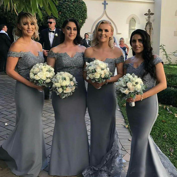 a9814040d52 Popular Off Shoulder Grey Bridesmaid Dresses