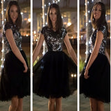 Short sleeve sequin sparkly black unique charming homecoming prom gown dress,BD0032