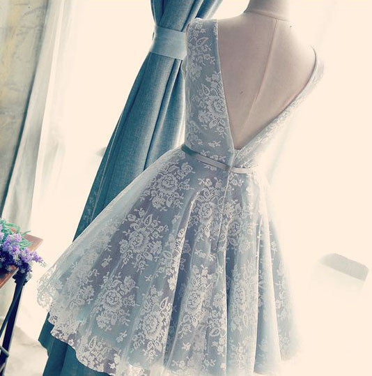 Cute V Neck V Back Sleeveless Lace Beautiful Knee-Length Homecoming Prom Dresses,220033