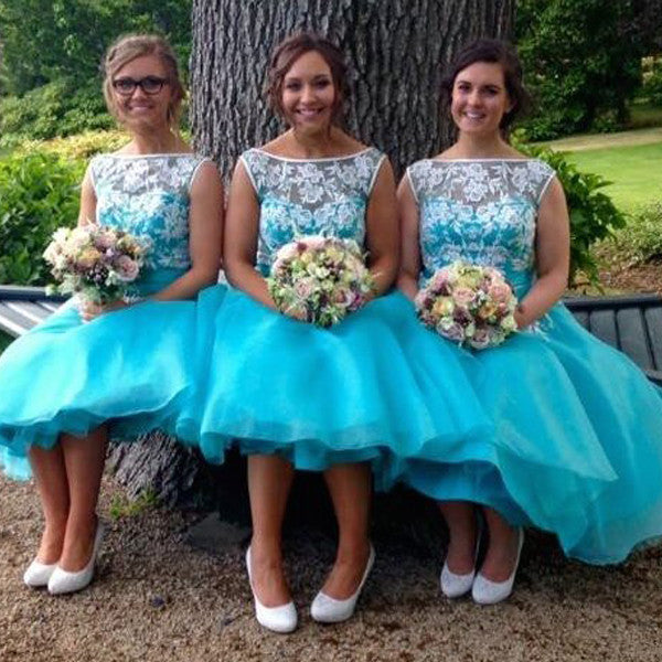 Popular Pretty Junor Short Blue Cheap Wedding Party Bridesmaid Dresses, WG333