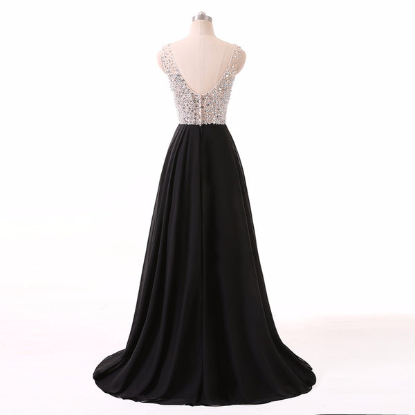 Long Prom Dresses, Chiffon Prom Dresses, A-Line Party Prom Dresses, Sleeveless Evening Dresses, V-Neck Prom Dresses, Beading Prom Dresses Online, LB0342