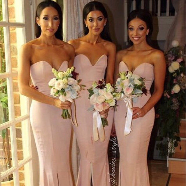 Simple Mermaid Sweet Heart Side Slit Long Wedding Bridesmaid Dresses, WG349