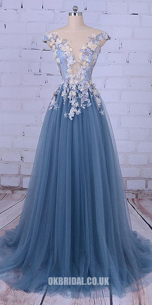 Charming Beaded Prom Dress, A-Line Tulle Prom Dress, Applique Prom Dress, KX353