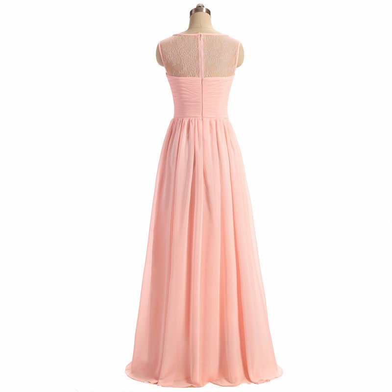 Sleeveless Bridesmaid Dress, A-Line Chiffon Dress for Wedding, Tulle Bridesmaid Dress, LB0362