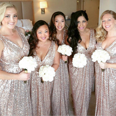 Sequin V Neck Sexy Shinning Cheap Long Wedding Bridesmaid Dresses, WG364
