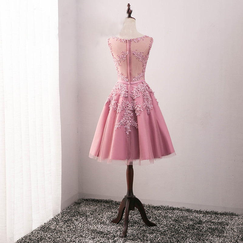 Tulle Homecoming Dress, Applique Junior School Dress, Lace Beaded Homecoming Dress, LB0364