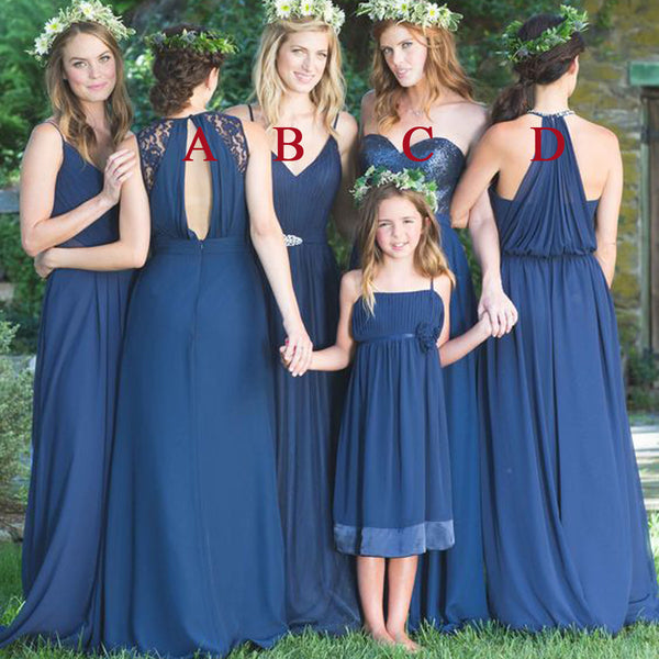 Mismatched Chiffon Sequin Roayl Blue Lace Long Wedding Bridesmaid Dresses, WG365