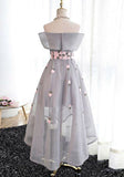 Best Sale Elegant A-Line Off-Shoulder High-Low Gray Organza Prom Dresses with Appliques,220037