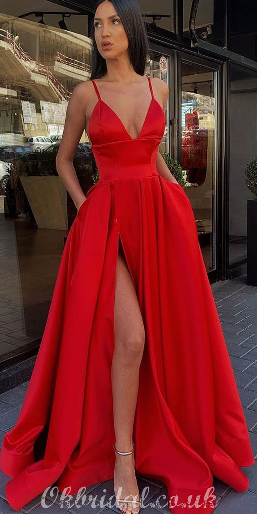 Different Colors A-line Satin Sleeveless Spaghetti Straps Slit Prom Dress, FC3758
