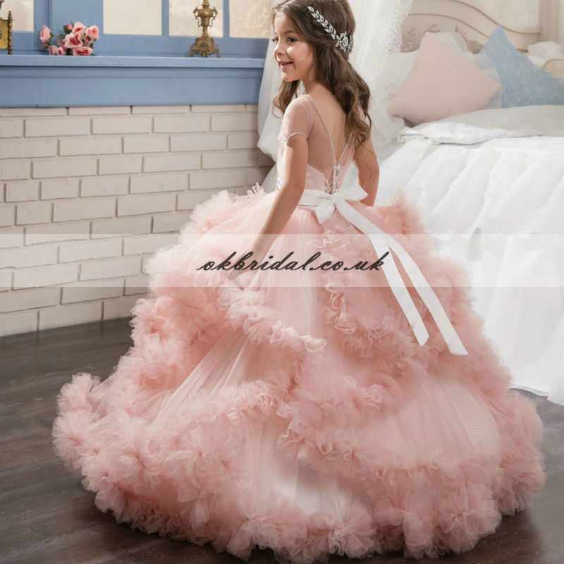 Pink Tulle Beaded Flower Girl Dresses, Lovely Little Girl Dresses, KX376