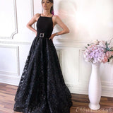 Elegant Black A-line Lace Backless Jersey Sleeveless Long Prom Dress, FC3776