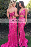 Two Pieces Prom Dress, Lace Prom Dress, Spaghetti Straps Prom Dress, Side Split Prom Dress, Sexy Prom Dress, KX37