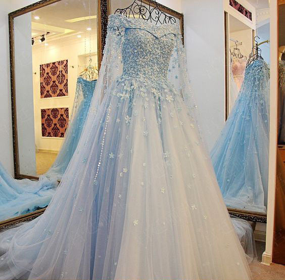 2017 High Quality Charming Blue Off the Shoulder Applique Lace Wedding Dresses with Long Train,220038