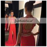 Two Pieces Open-Back Beaded Prom Dress, Red Jersey Slit Prom Dress, KX381