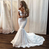 Popular Lace Off Shoulder Sexy Mermaid Wedding Dresses, FC3864