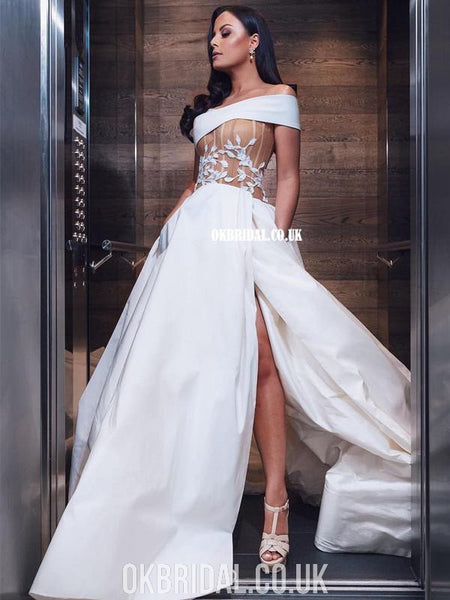 Elegant A-line Off Shoulder Backless Slit Satin Wedding Dresses, FC3916