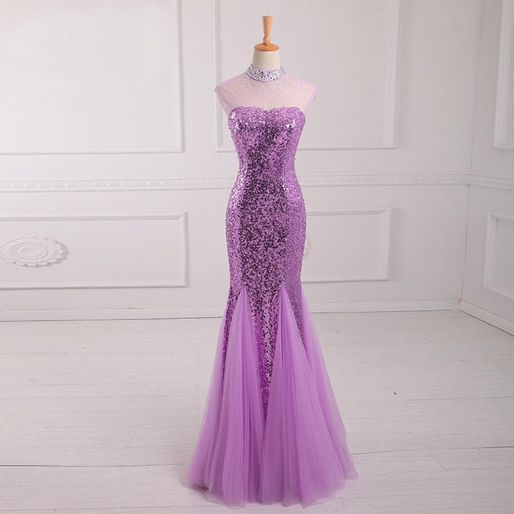 Long Prom Dresses, Sequin Prom Dresses, Sleeveless Prom Dresses, Halter Evening Dresses, Mermaid Prom Dresses , Floor-Length Prom Dress, Tulle Party Dress, LB0398