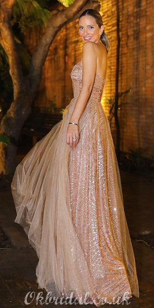 One Shoulder A-line Tulle Backless Sweetheart Sequin Prom Dress, FC3996