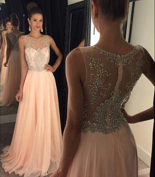 Blush Pink Sexy Prom Dresses, See Through Long Prom Dress, Sexy Prom Dress, 2016 Prom Dress, Dresses For Prom, Party Evening Prom Dress, 17003