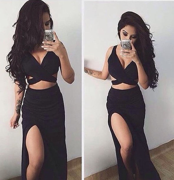 Sexy Black Two Pieces Evening Prom Dresses, 2017 Side Slit Party Prom Dresses, Custom Long Long Prom Dress ,PD0171