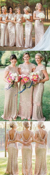 Gold Sequin Mermaid Long Bridesmaid Dresses, BD001