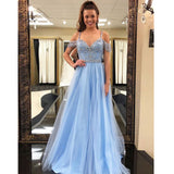 Hot Sale Beaded A-Line Prom Dress, Blue Tulle Elegant Prom Dresses, KX400