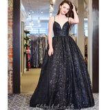 Black A-line Lace Cross-Back Floor-length Long Charming Prom Dress, FC4010