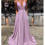 Spaghetti Straps A-line Sparkly Deep V-neck Prom Dress, FC4019