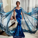 Unqiue Royal Blue Velvet Mermaid Long Prom Dresses, FC4044