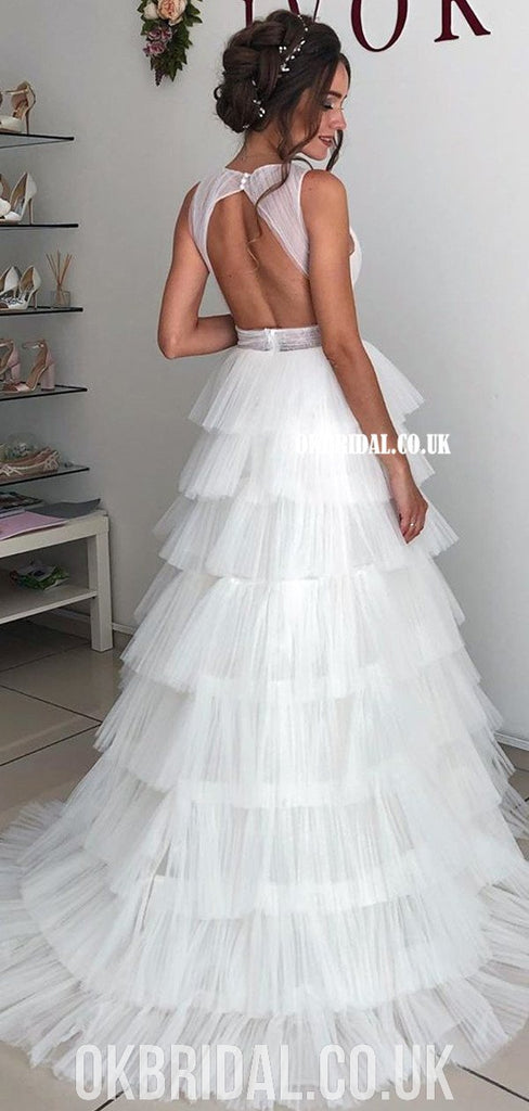 A-line Tulle V-neck Sexy Open-Back Floor-Length Simple Wedding Dresses, FC4069