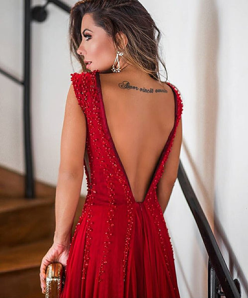 Red A-Line Backless Sexy Deep V-neck Beads Sleeveless Chiffon Prom Dress, FC409