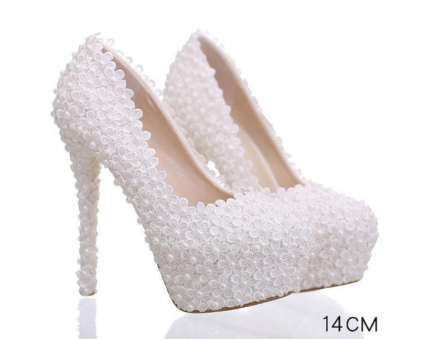 Pearls Lace Pointed Toe White High Heels Wedding Bridal Shoes, S016