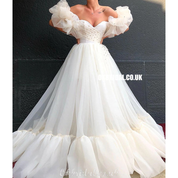 Off Shoulder A-line Organza Charming Sweetheart Rhinestone Prom Dresses, FC4142