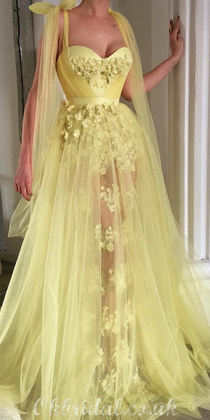 Yellow A-line Tulle Sweetheart Lace Applique Prom Dress, FC4155