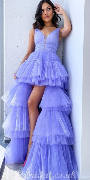 Long A-line Tulle Sleeveless High-Low Lilac Charming Prom Dress, FC4159