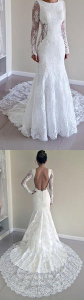 Sexy Full Sleeve Open Back Beautiful Affordable Lace Wedding Dresses with Short Train,220042