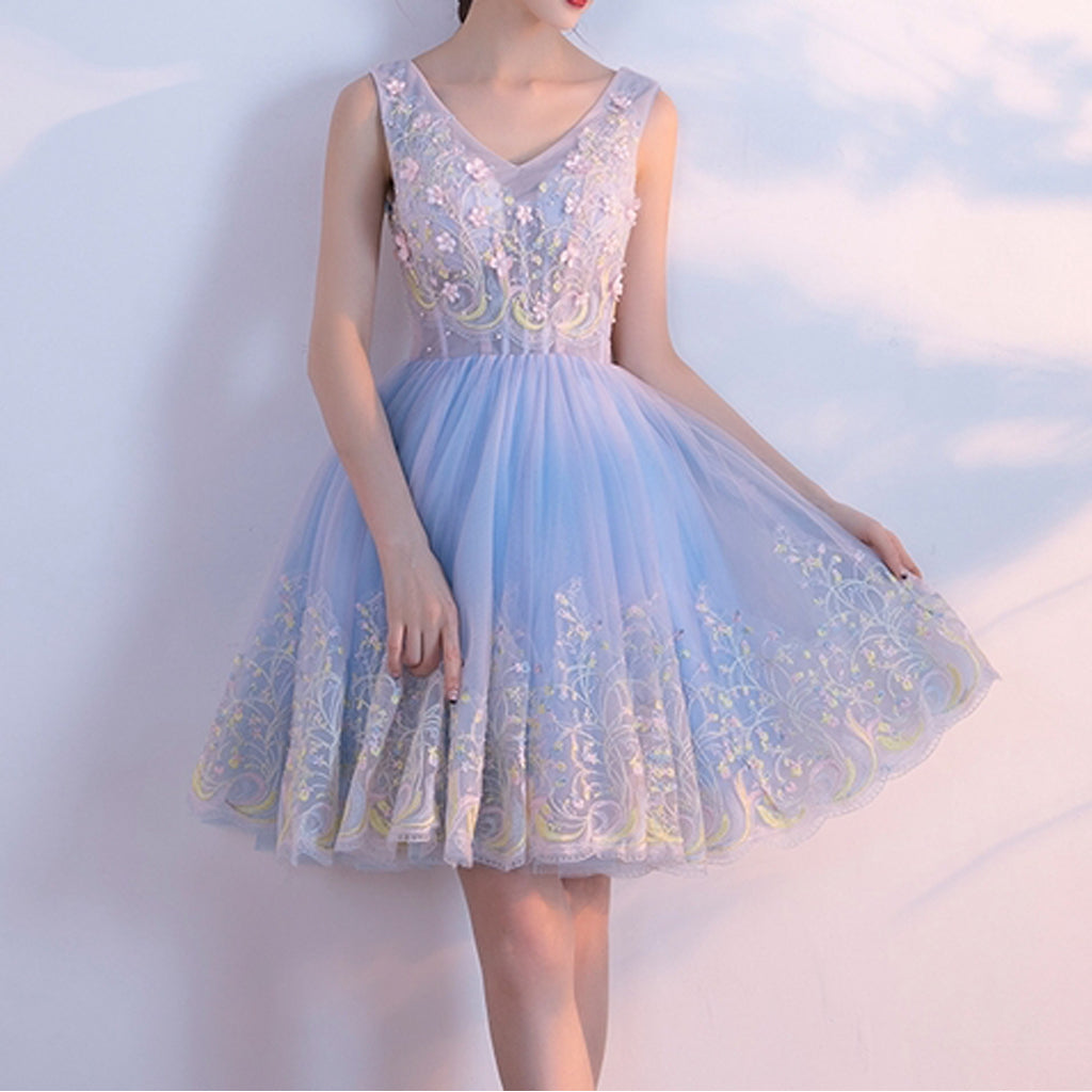 Tulle Lace Homecoming Dress, Applique Backless Homecoming Dress, LB0420