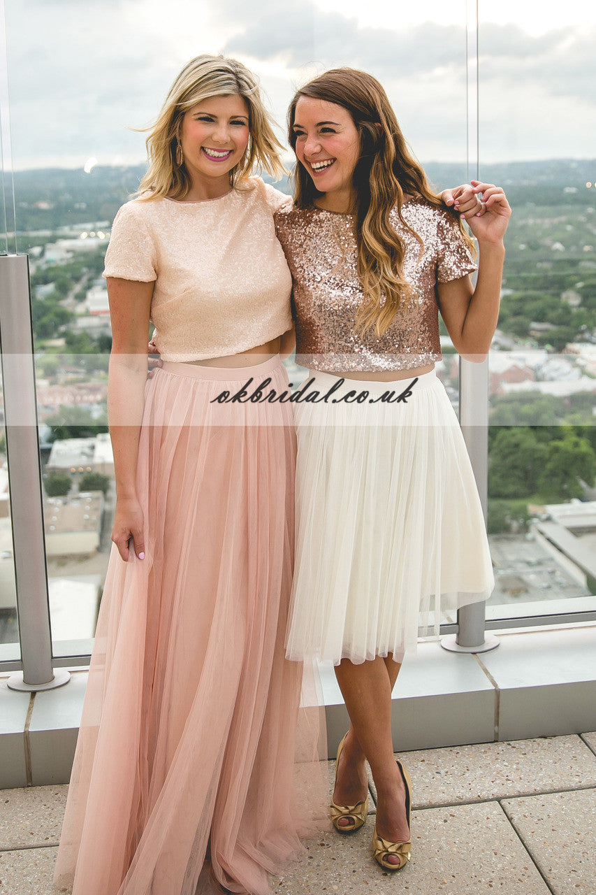 Mismatched Sequin Top Bridesmaid Dress, Tulle Bridesmaid Dress, KX422