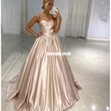 Simple A-line Satin Sweetheart Backless Prom Dresses, FC4234