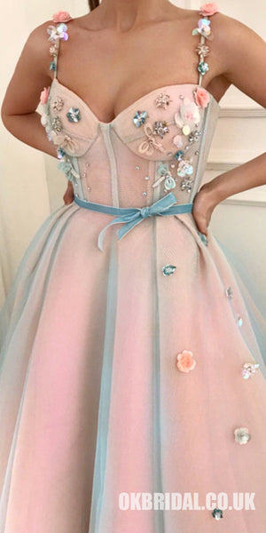 Princess Applique A-Line Spaghetti Straps Tulle Charming Prom Dress, FC425