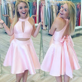 Short Homecoming Dress, Satin Homecoming Dress, Halter Homecoming Dress, Two Pieces Junior School Dress, Knee-Length Homecoming Dress, Open-Back Homecoming Dress, LB0425