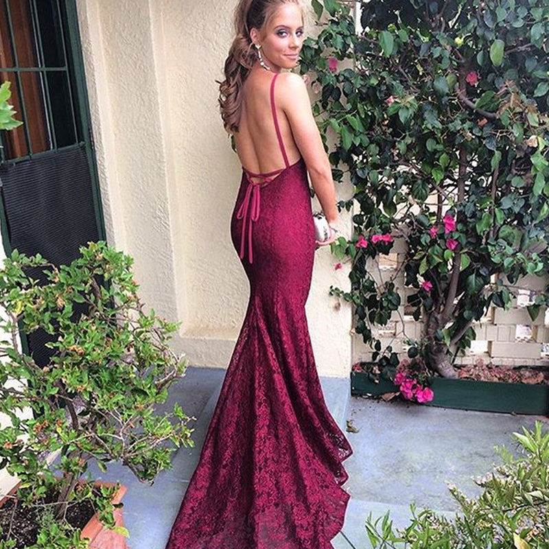 Sexy V-Neck Backless Prom Dress, Spaghetti Straps Lace Prom Dress, KX427