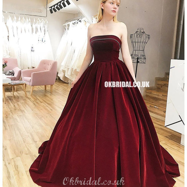 Elegant A-line Sleeveless Velvet Straight Neckline Backless  Prom Dresses, FC4298
