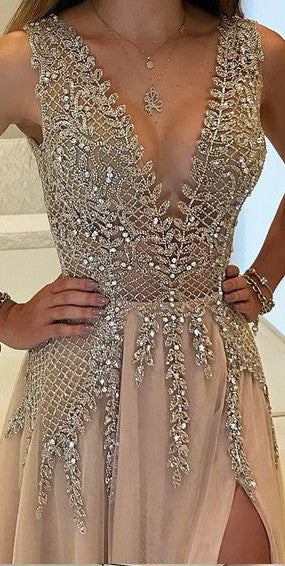 2cf8ee440fc A-Line V-Neck Sleeveless Charming Tulle Side Split Beaded Backless Prom  Dresses