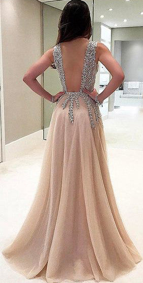 A-Line V-Neck Sleeveless Charming Tulle Side Split Prom Dresses with Beads and Sweep Train,220043